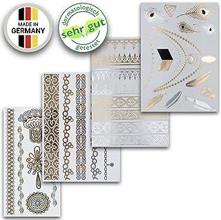 Tatuajes Temporales En Varios Diseños   Adhesivos Removibles Dorados Y Platas   Conjunto De 4 Hojas Con 34 Pegatinos – de Ahimsa Glow®