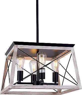 4-Light Farmhouse Pendant Light Fixture, Antique Metal Industrial Ceiling Hanging Kitchen Island Lighting, Rustic Vintage Far