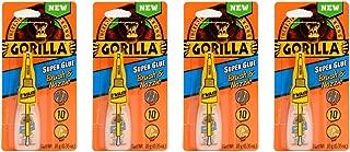 Gorilla Super Glue with Brush & Nozzle Applicator, 10 Gram, Clear, (4 Pack)