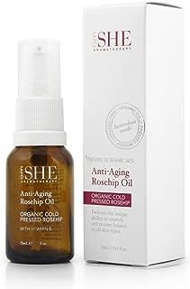Om She Aromatherapy - Anti Aging Rosehip Oil .5 fl oz (15ml) - Vegan Friendly - Paraben Free - Cruelty Free - Vitamin E - Organic - Cold Pressed - Nourishing - Restoring