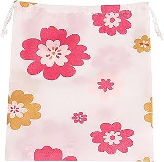 アストロ シューズバッグ ホワイト 花柄 シューズケース 靴収納 巾着袋 シューズサック 820-44