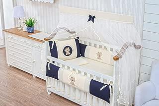Royal Bear Theme Navy Blue/Ivory Baby Boy 07 Pcs Nursery Embroidered Crib Bedding Set Bumpers + Sheet Set + Changing Pad