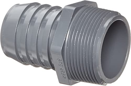 """Spears 1436 Series PVC Tube Fitting, Adapter, Schedule 40, Gray, 1-1/2"""" Barbed x NPT Male"""