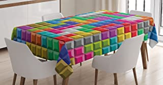 Ambesonne Video Games Tablecloth, Colorful Retro Gaming Computer Brick Blocks Image Puzzle Digital 90's Play, Rectangular Table Cover for Dining Room Kitchen Decor, 52