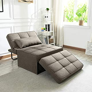 Vonanda Sofa Bed, Convertible Chair 4 in 1 Multi-Function Folding Ottoman Modern Breathable Linen Guest Bed with Adjustabl...