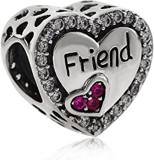 Friend Charm 925 Sterling Silver Friendship Charm Heart Charm Anniversary Charm for DIY Charms Bracelet
