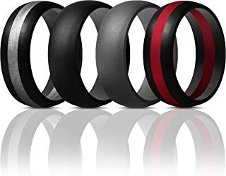 ThunderFit Mens Silicone Rings Wedding Bands - 4 Pack Classic & Middle Line - 8.5 mm Wide