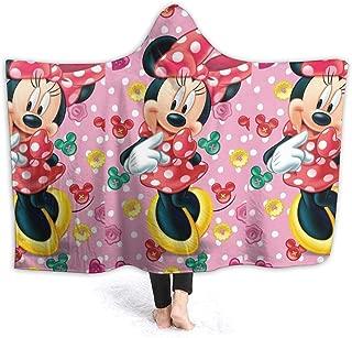 LJYDZY Hooded Blanket Minnie Mouse Print Super Soft Flannel Sherpa Plush Fleece Wearable Blanket -50