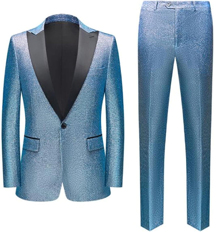 Sequins Men's Suits 2 Pcs Peak Grooms Wedding Lapel Tu for New item Ranking TOP5
