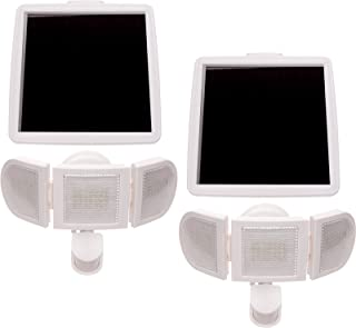 GreenLighting 2 Pack 1500 Lumen Triple Head PIR Solar Security Light (White)