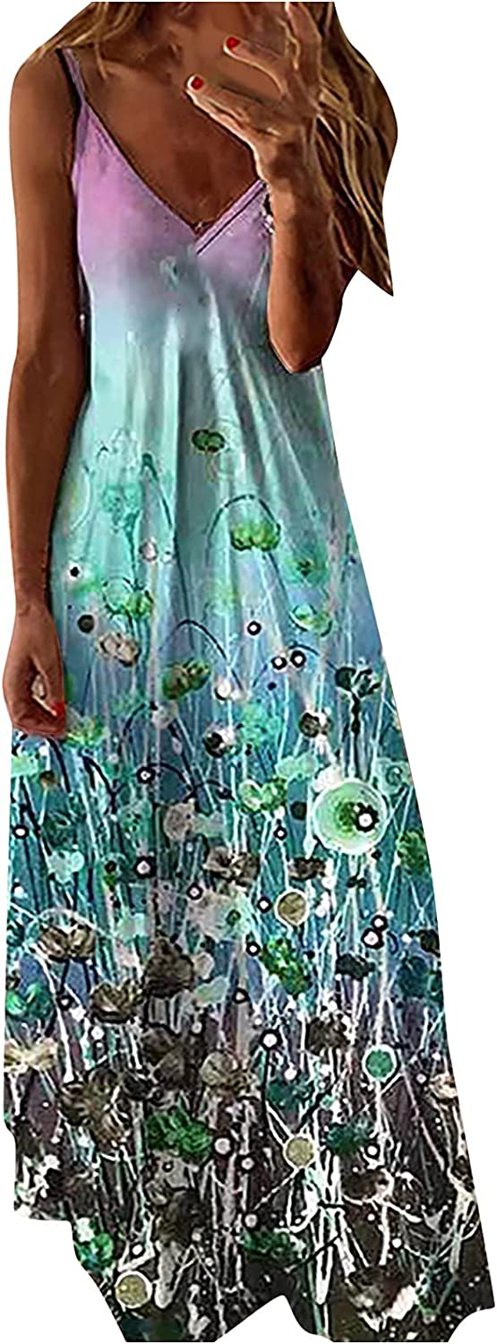GOODTRADE8 Maxi Dress Women V-Neck Fashion Casual Printed Loose Sling Dress Cocktail Wedding Wrap Formal Casual