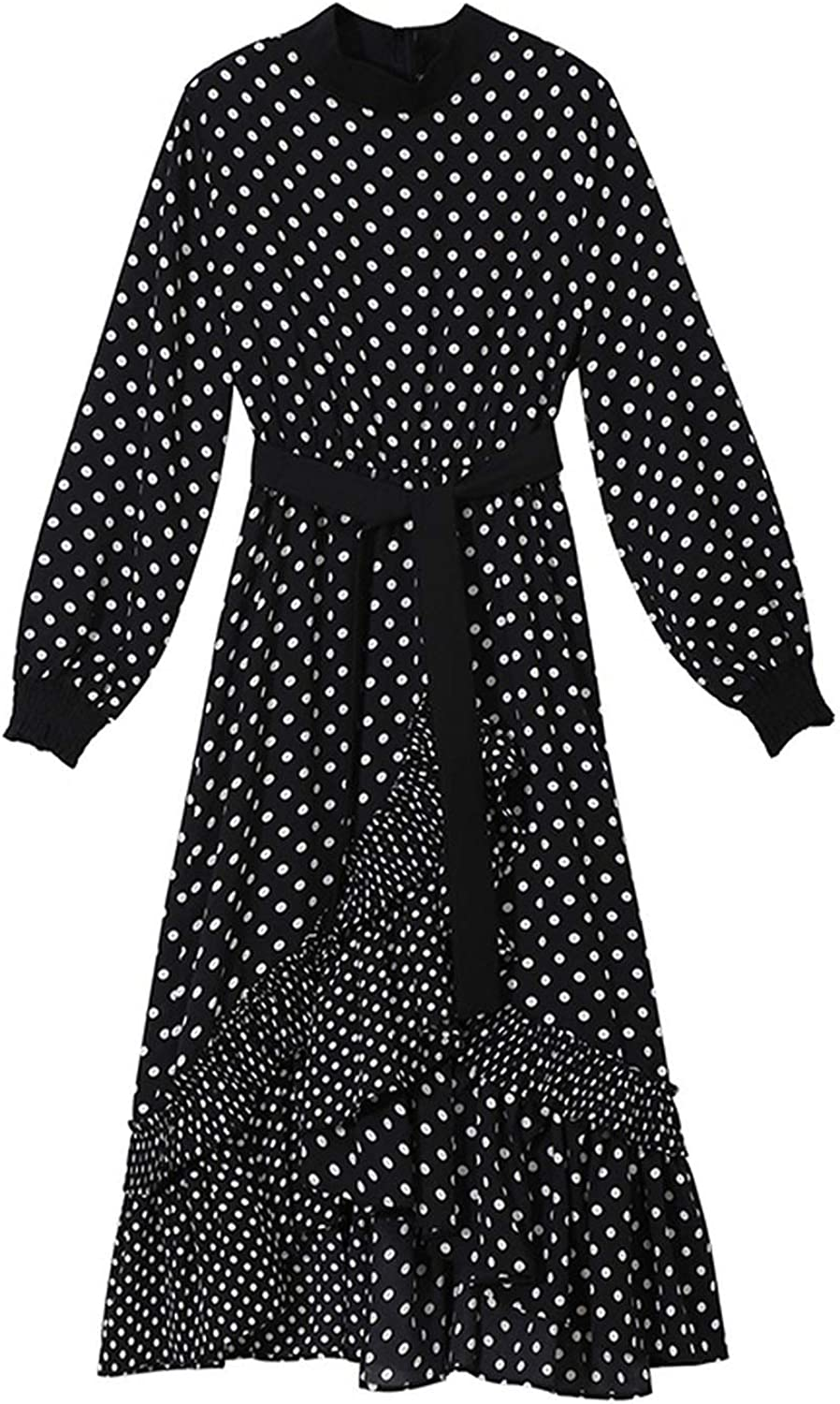 AllAboutUs Women Spring Long Black Dress Polka Dots Stand Collar Female Elegant Party Club Wear