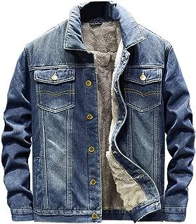 Men's Sherpa Lined Denim Jacket Coat Classic Winter Trucker Outcoat