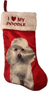 Holiday Time Pick Your Breed I Love My Breed Christmas Dog Pet Stocking with Picture of Breed Xmas Pet Gift (Poodle)