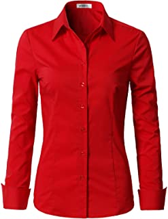 NINEXIS Womens Basic Long Sleeve Button Down Slim Fit Blouse Shirt