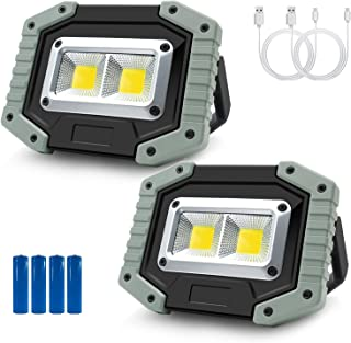 Rechargeable LED Work Light 30W 1500LM, Portable Waterproof COB LED Flood lights with Stand, Built-in Power Supply for Out...