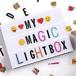 Boîte à lumière A4, boîte à lettres légère à LED avec 90pcs Black Letters, Lettres couleur 90pcs et 85pcs Lovely Emojis, i...