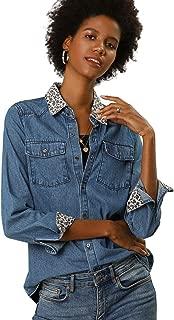 Allegra K Women's Leopard Button Up Long Sleeves Top Shirts Denim Shirt with Pockets