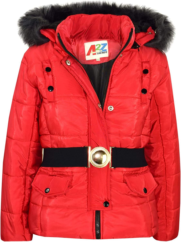 Kids Girls Jacket Puffer Hooded Faux Fur Padded Zipped Belted Slim Fit Warm Coat