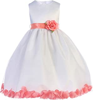 0ead2a0a5 Crayon Kids Little Girls White Coral Floating Petals Flower Girl Dress 2T-6