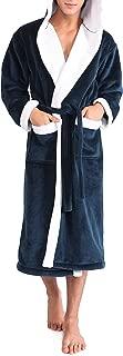 Men's Hooded Fleece Plush Soft Shu Velveteen Robe Full Length Long Bathrobe