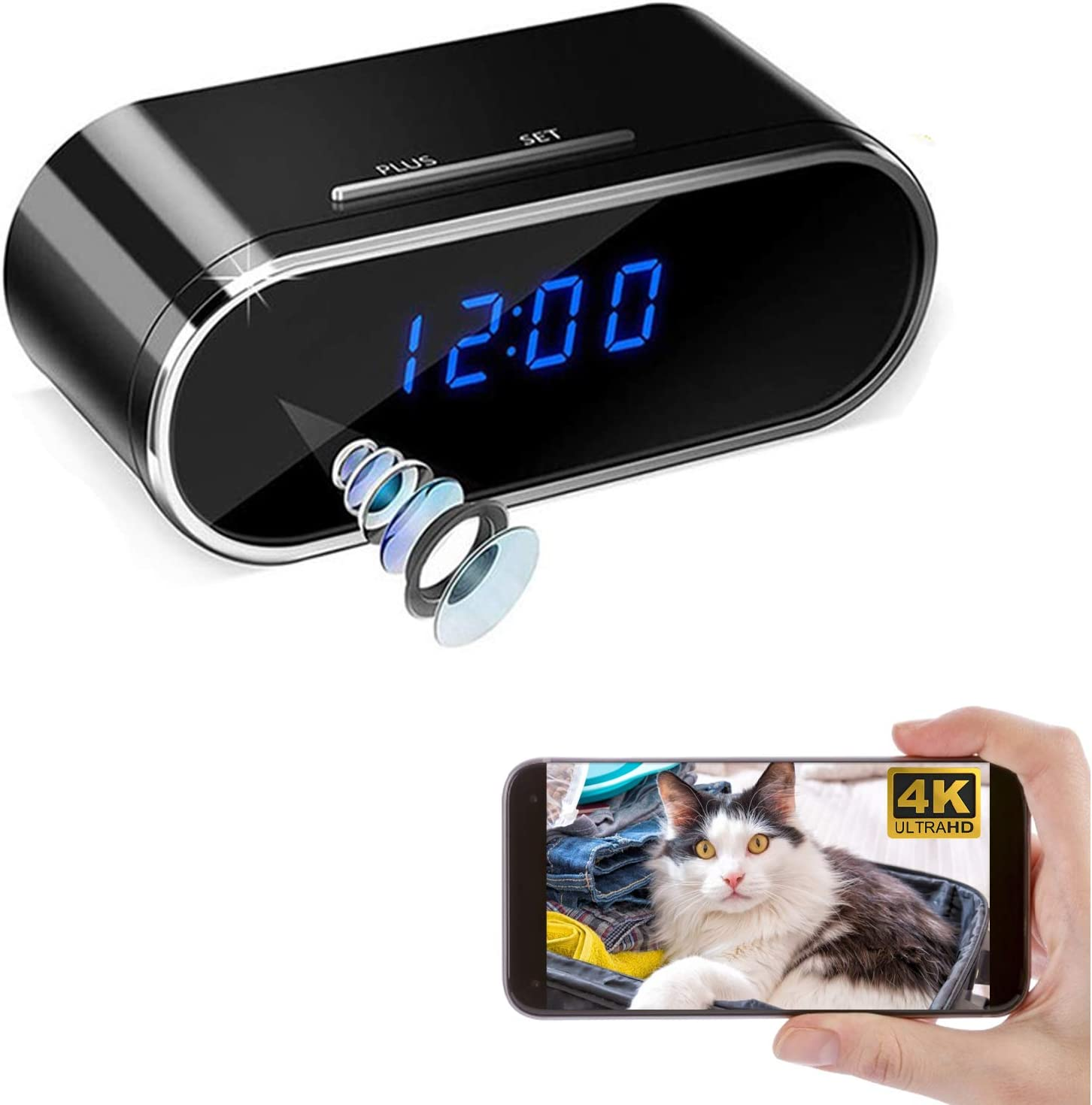 PEDZEN 4K WiFi Clock Camera Spy Wireless sold security out Hidden Remo with