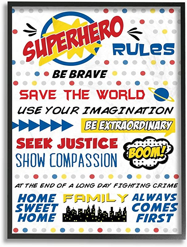 The Kids Room By Stupell Comic Book Dots Super Hero Rules Typography Oversized Framed Giclee Texturized Art 16 X 1 5 X 20 Proudly Made In USA