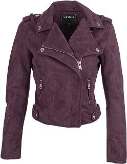 Glam and Gloria Womens Purple Faux Suede Vegan Leather Moto Biker Jacket