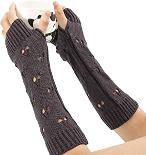 LIUFULING Women's New Cozy Wool Gloves Knit Arm Warmer Cable Knit Fingerless Gloves Mittens (Color : Purple)
