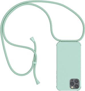 EAZY CASE Handykette kompatibel mit Apple iPhone 12/12 Pro Handyhülle mit Umhängeband, Handykordel mit Schutzhülle, Silikonhülle, Hülle mit Band, Kette für Smartphone, Full Color Mint Grün