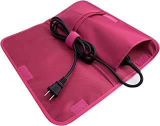 Hairizone Flat Iron Cover Thermal Pouch and Cable Holder for Hair Straightener, Curling Iron Case, Convenient Beauty Product Storage Bag for Travel, Pink