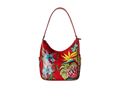 Anuschka Handbags 382 Classic Hobo With Side Pockets (Island Escape) Hobo Handbags