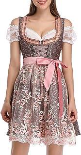 Clearlove Dirndl 3 TLG.Damen Midi Trachtenkleid für Oktoberfest,Karneval,Spitzen Kleid&Bluse&SchürzeVerpackung MEHRWEG