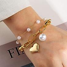 N/A Armband sieraden Vintage Parel Liefde Hart Dikke Ketting Armband Voor Vrouwen Grote Parel Goud Ketting Charms Armbande...