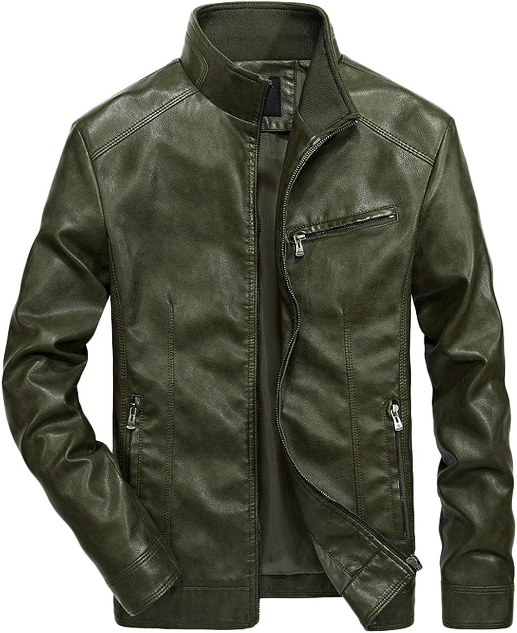 chouyatou Men's Simple Stylish Full-Zip Work Wear Faux Leather Moto Jacket