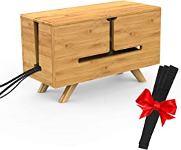 Cable Management Organizer Box - Bamboo DIY Cord Organizer Box Container, Large Surge Protector Cover Hide Power Strip 15.8 X 6.7 X 7in for Home and Office - Keeps Pets/Children Safe