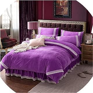 Winter Flannel Fleece Bedding Set Cashmere Sheet Pillowcase Duvet; Cover Set Camel Fleece lace Thicken Warm Ruffles Bed Linen Set,Purple Bed Linen,Super King,Bed Skirt Sheet Set