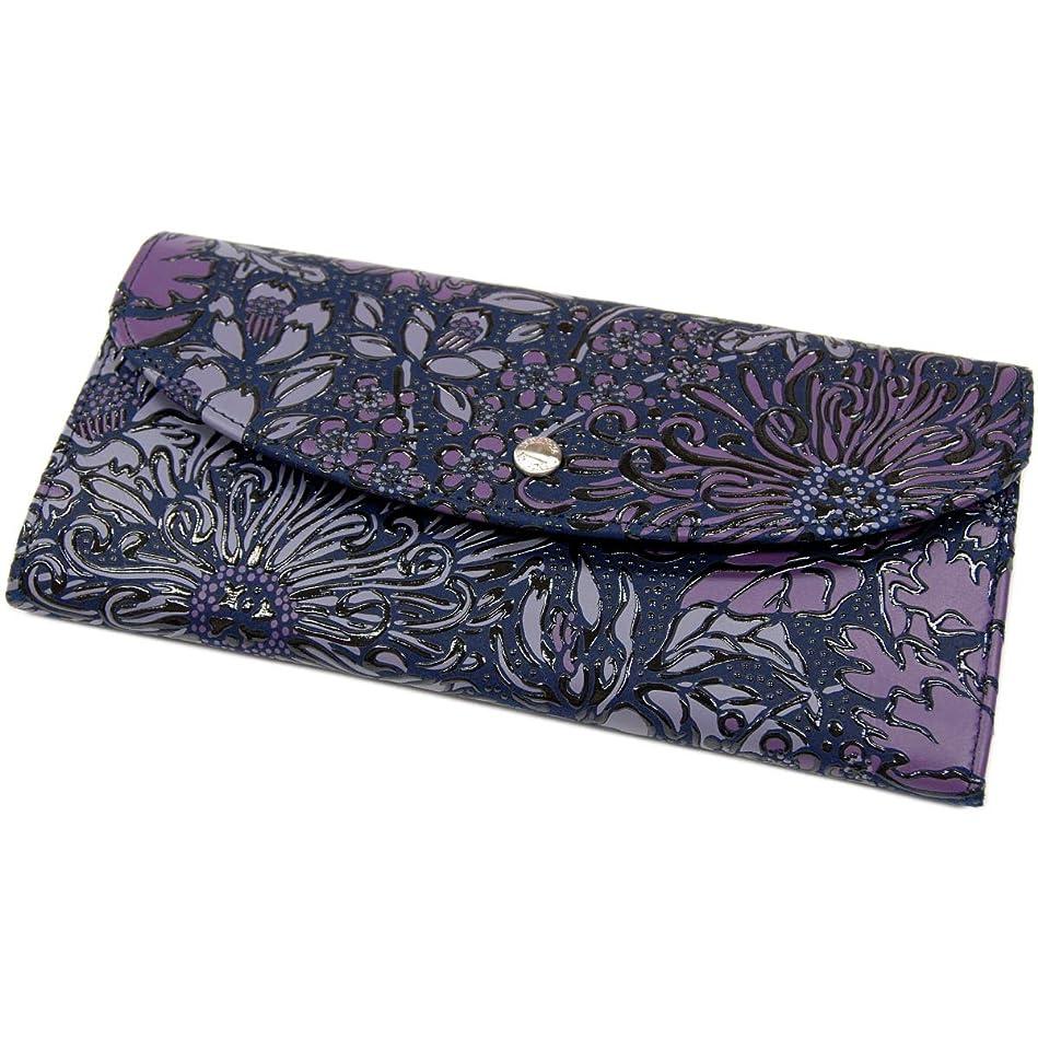 手錠ちらつき粉砕する印傳屋 印伝 Flonity フロニティ 7224 レディース 長財布 (束入れ) 和風 日本製 更紗花柄 ギフトに。