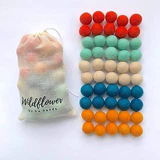 "Wildflower by Hu Hands 100% Handmade Wool Felt Pom Poms - Juicy Fresh - (50) Pure New Zealand Wool Felt Balls - DIY Pompoms - 0.8-1.0"" Size - Drawstring Muslin Bag"