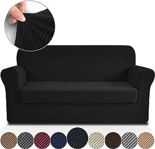 Rose Home Fashion RHF Jacquard Stretch 2-Piece Sofa Cover, 2-Piece Slipcover for Leather Couch-Polyester Spandex Sofa Slipcover&Couch Cover for Dogs, 2-Piece Sofa Protector(Sofa: Black)