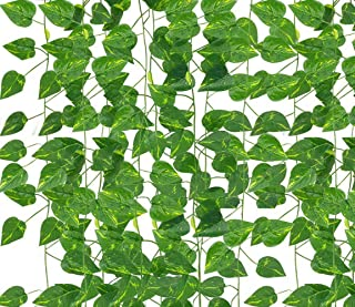 Yodosun 12 Strands 84 Feet Fake Ivy Hanging Plants Artificial Vines Leaves Greenery Garlands for Wedding Party Home Kitche...