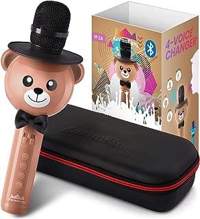 KaraoKing Wireless Portable Karaoke Microphone with Bluetooth for Kids (Light Brown)