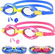 Hutigertech Kids Swim Goggles, No Leaking Anti Fog UV Protection Soft Silicone Frame Swimming Goggles with Case,Nose Clip,Earplugs for Boys Girls Youth Kids(Age 3-15), Pack of 2