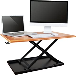 Stand Up Desk Store AirRise Standing Desk Converter – Adjustable Height, Single Tier, 32 Inches Long, Teak