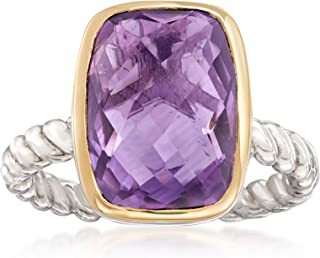 Ross-Simons 6.00 Carat Cushion-Cut Amethyst Ring in Sterling Silver and 14kt Yellow Gold