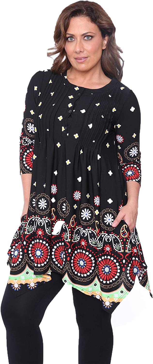 white mark Same day shipping Lucy OFFicial shop Mandala Print Tunic Top
