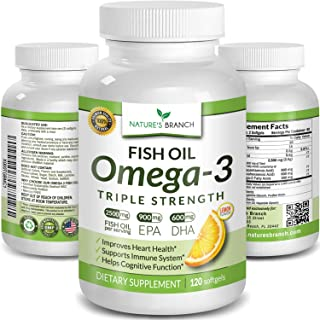 Best Triple Strength Omega 3 Fish Oil Pills 2500mg Burpless High Potency Lemon Flavor - 900mg EPA 600mg DHA Ultra Pure Liq...