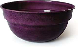 Robert Allen MPT01970 Ironstone Bella Venti Bowl Metal Planter Flower Pot, Stormy Purple, 14-Inch