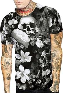WYTong Mens 3D Skull Flower Printed Tees Shirt Short Sleeve Summer T-Shirt