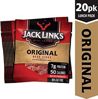 Jack Link's Beef Jerky 20 Count Multipack, Original, 20, .625 oz. Bags – Flavorful Meat Snack for Lunches, Ready to Eat – 7g of Protein, Made with 100% Beef – No Added MSG or Nitrates/Nitrites